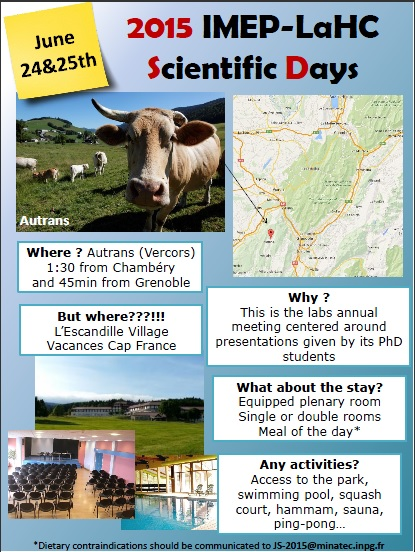 Scientfic Days- 24&25th June 2015 -Autrans